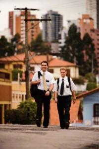 Latter-day Saint Mormon missionaries walking in the street